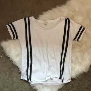 J. Crew Tops - J. Crew Gray & White Striped Short Sleeve